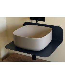 Vasque carrée beige mat en céramique 42x42cm hauteur 18cm scarmoon 5501 sand 52