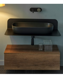 Meuble de salle de bain sur console métallique noire NROP 100x48x20cm vasque ardoise 76x39cm et tiroir 99x30cm scarplana
