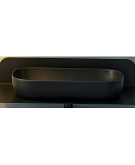Vasque ovale noir mat en céramique 76x39cm hauteur 14cm  scarglam 1803 ardesia 49