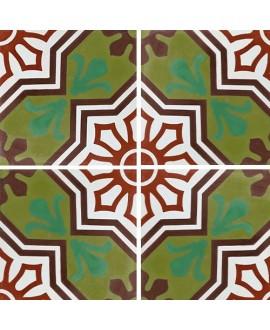 Carreau ciment véritable décor arabesque 7350-2 20x20cm