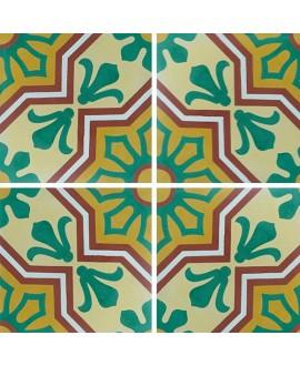 Carreau ciment véritable décor arabesque 7350-1 20x20cm