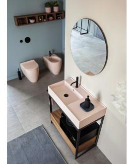 Meuble console de salle de bain bois clair et céramique musk 55 avec une vasque ronde à poser blanc mat scarcross 41