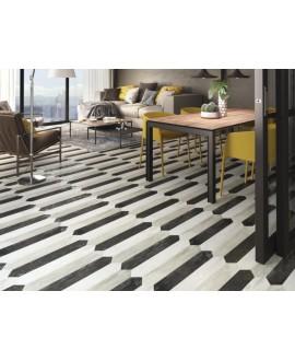 Carrelage imitation parquet moderne noir, rectangle plank 9.8x50cm ou navette diamond 9.8x59.7cm apepalermo black
