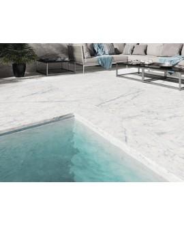 Nez de marche imitation marbre blanc antidérapant rectifié 120x33cm apenuova structuré