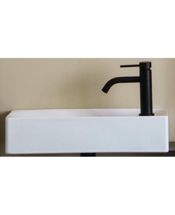 Meuble de salle de bain vasque scarsoft 45x22cm avec miroir étagère et porte verre noir et cube noir scarfold