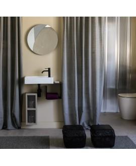 Meuble de salle de bain vasque scarsoft 45x22cm avec miroir rétroéclairé rond D:50cm et cube noir scarfold