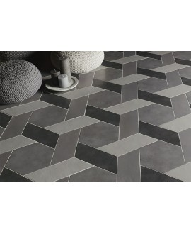 Carrelage rectangulaire gris moyen satiné rectangulaire 9x36cm, hexagonal ou chevron sol et mur natconcret paris