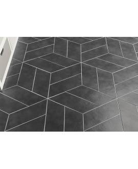 Carrelage rectangulaire gris foncé satiné rectangulaire 9x36cm, hexagonal ou chevron sol et mur natconcret oslo