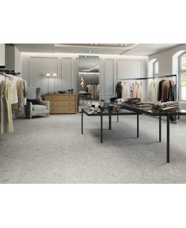 Carrelage imitation pierre grise terrazzo rectifié 90x90cm mat, 60x120cm mat, 60x120cm poli brillant apecepo