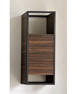 Elément haut suspendu avec porte serviette 90x35cm profondeur 20cm parement bois cadre métal noir scarframe