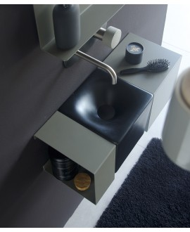 Meuble de salle de bain 59.5x24cm profondeur 24cm avec 2 éléments métalliques et une vasque noire mat scarfold