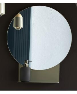 Miroir rond avec étagères largeur 53.5cm hauteur 60cm scar2301