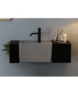 Meuble de salle de bain 77.5x24cm profondeur 24cm avec 2 éléments métalliques noir mat et une vasque 42X24cm scarfold