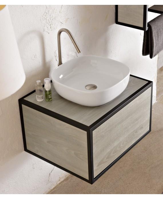 Meuble de salle de bain largeur 90cm x 50cm hauteur 35+18cm avec un tiroir et une vasque noir mat 42x42cm scarframe