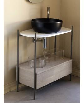 Meuble console de salle de bain structure métal L74.5cm H77.5cm P39cm avec tiroir en bois et vasque céramique scardiva