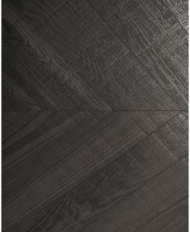 Carrelage imitation parquet noir point de hongrie sol et mur, 9.4x49cm rectifié santawood chevron dark