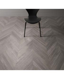 Carrelage imitation parquet gris point de hongrie, sol et mur 9.4x49cm rectifié santawood chevron grey