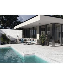 Carrelage imitation marbre blanc veiné de gris structuré rectifié 60x60cm ou 60x120cm terrasse apenuova antidérapant R11