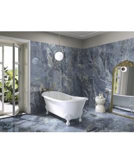 Carrelage imitation marbre bleu et blanc poli brillant rectifié 60x120cm, apexplosion de bleu