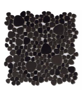 Galet de verre anthracite mat sur trame 26x26cm épaisseur 5mm