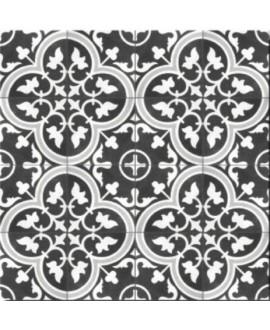 Carrelage imitation carreau ciment noir gris et blanc, sol et mur, 25x25cm D arte due black