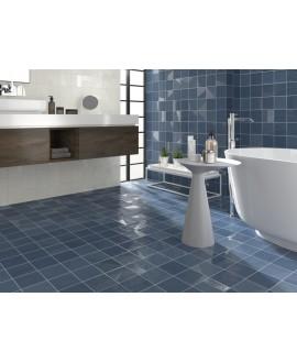 Carrelage bosselé bleu mat et brillant 13.8x13.8cm contemporain sol et mur apedrop blue
