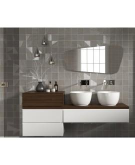 Carrelage bosselé gris mat et brillant 13.8x13.8cm contemporain sol et mur apedrop grey