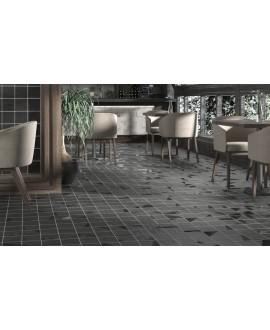 Carrelage bosselé noir mat et brillant 13.8x13.8cm contemporain sol et mur apedrop black