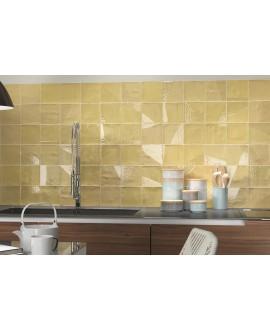 Carrelage bosselé jaune mat et brillant 13.8x13.8cm contemporain sol et mur apedrop yellow