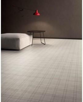 Carrelage grand format imitation tissu mat, 90x90cm rectifié, Santaset tartan blanc