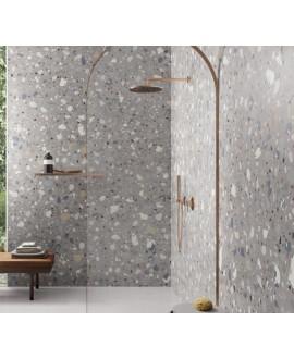 Carrelage effet terrazzo mat 90x90cm et 120x120cm rectifié sur fond gris, santadeconcrete maxi deco grey