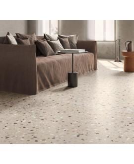 Carrelage effet terrazzo mat 60x60cm, 90x90cm et 120x120cm rectifié sur fond taupe, santadeconcrete medium sand