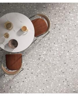 Carrelage effet terrazzo mat 60x60cm, 90x90cm et 120x120cm rectifié sur fond gris clair, santadeconcrete medium perle