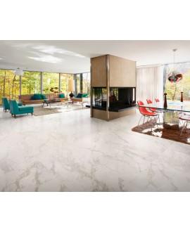 carrelage imitation marbre blanc satiné rectifié 90x90x1cm, salon, santamarmocrea venato gold