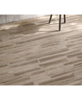 Carrelage imitation béton et parquet taupe mélangé mat 30x120cm et 30x180cm santafusion sand