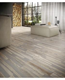 Carrelage imitation béton et bois naturel mélangé mat  30x120cm et 30x180cm santafusion natural
