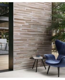 Carrelage fusion de bois marron et béton mélangé mat 30x120cm et 30x180cm rectifié, sol et mur santafusion brown