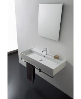 Vasque en céramique émaillée blanc ou noir mat scateoreme 2.0 120x46x14.5cm 5107/R-120A avec 1 trou.
