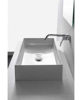 Vasque en céramique émaillée scateoreme 2.0, blanc et noir mat à poser 60x40x14cm 5101