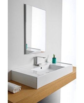 Vasque en céramique émaillée scateoreme 2.0 blanc et noir mat, à poser ou suspendu 101x46cm 5124