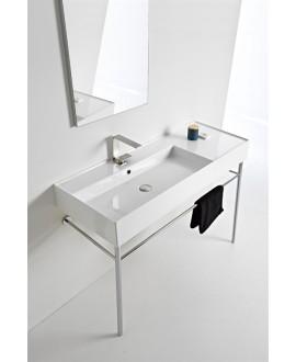 Vasque en céramique émaillée scateoreme 2.0 blanc et noir mat , à poser ou suspendu 120x46x14 cm 5121DX