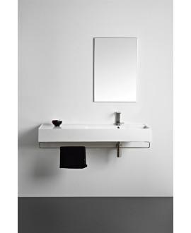 Vasque en céramique émaillée scateoreme 2.0 blanc et noir mat , à poser ou suspendu 120x46x14 cm 5122SX