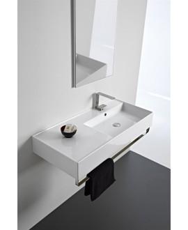 Vasque en céramique émaillée scateoreme 2.0 blanc et noir mat , à poser ou suspendu 100x46x14 cm 5120SX