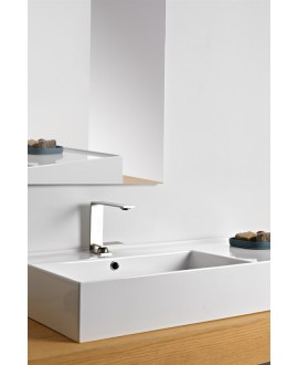 Vasque en céramique émaillée scateoreme 2.0 blanc et noir mat , à poser ou suspendu 100x46x14 cm 5119DX