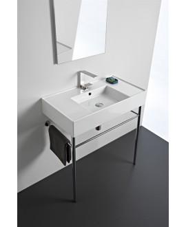 Vasque en céramique émaillée scateoreme 2.0 blanc et noir mat , à poser ou suspendu 80x44x14 cm 5123