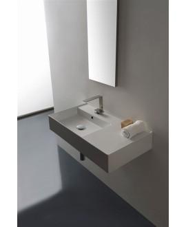 Vasque en céramique émaillée scateoreme 2.0 blanc et noir mat, à poser ou suspendu 80x44x14 cm 5115DX
