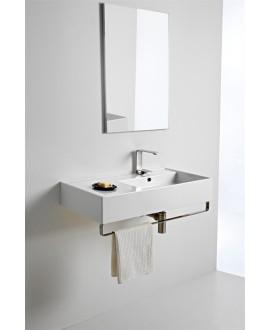 Vasque en céramique émaillée scateoreme 2.0 blanc et noir mat, à poser ou suspendu 80x44x14 cm 5118SX