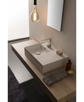 Vasque en céramique émaillée scateoreme 2.0 blanc et noir mat, à poser ou suspendu 60x46x14?5 cm 5114DX