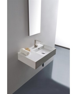 Vasque en céramique émaillée scateoreme 2.0 blanc et noir mat, à poser ou suspendu 60x46x14?5 cm 5117SX