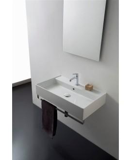 Vasque en céramique émaillée scateoreme 2.0 blanc et noir mat, à poser ou suspendu 80x46x14,5 cm 5110